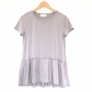Lavender Field Anthropolgie Peplum Top Shirt Boho